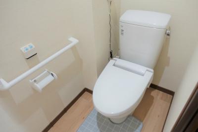 お部屋のトイレです。手すりが付いているので使いやすくなっています。