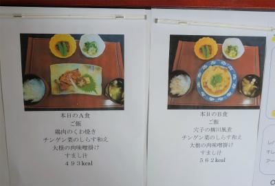 お食事は、毎食2種類のメニューから選べます。